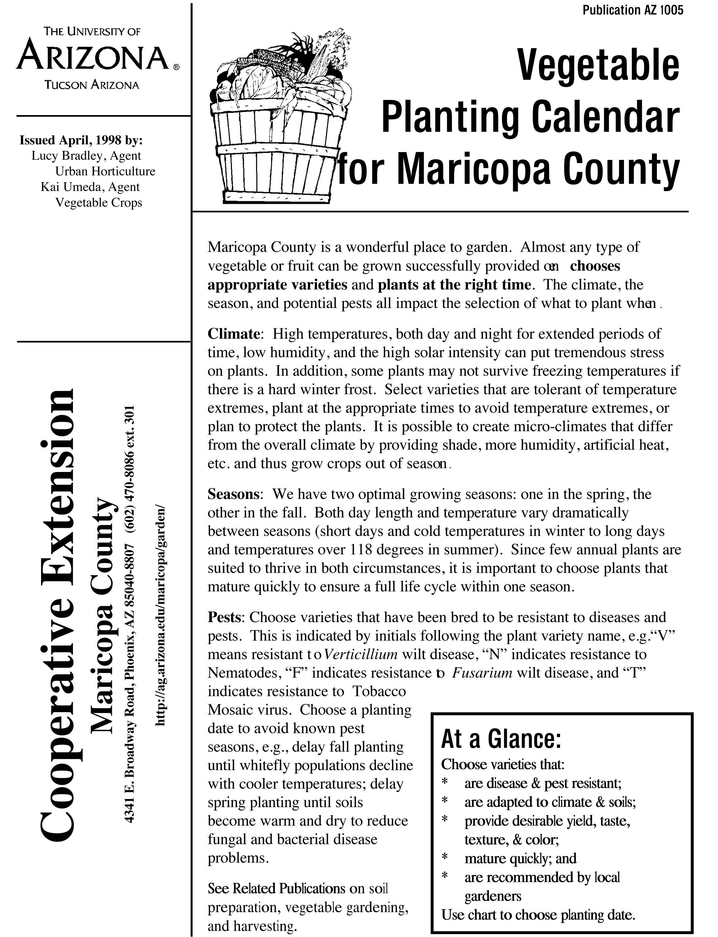 Vegetable Planting Calendar Of Maricopa County Arizona Planting