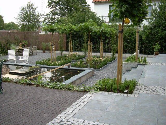 Niveauverschil met vijver opvangen tuinidee pinterest terras tuin en met - Moderne landschapsarchitectuur ...