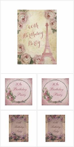 Elegant Floral Vintage Birthday Invitations
