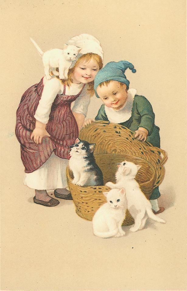 Картинки рабочий, дети с кошками открытки