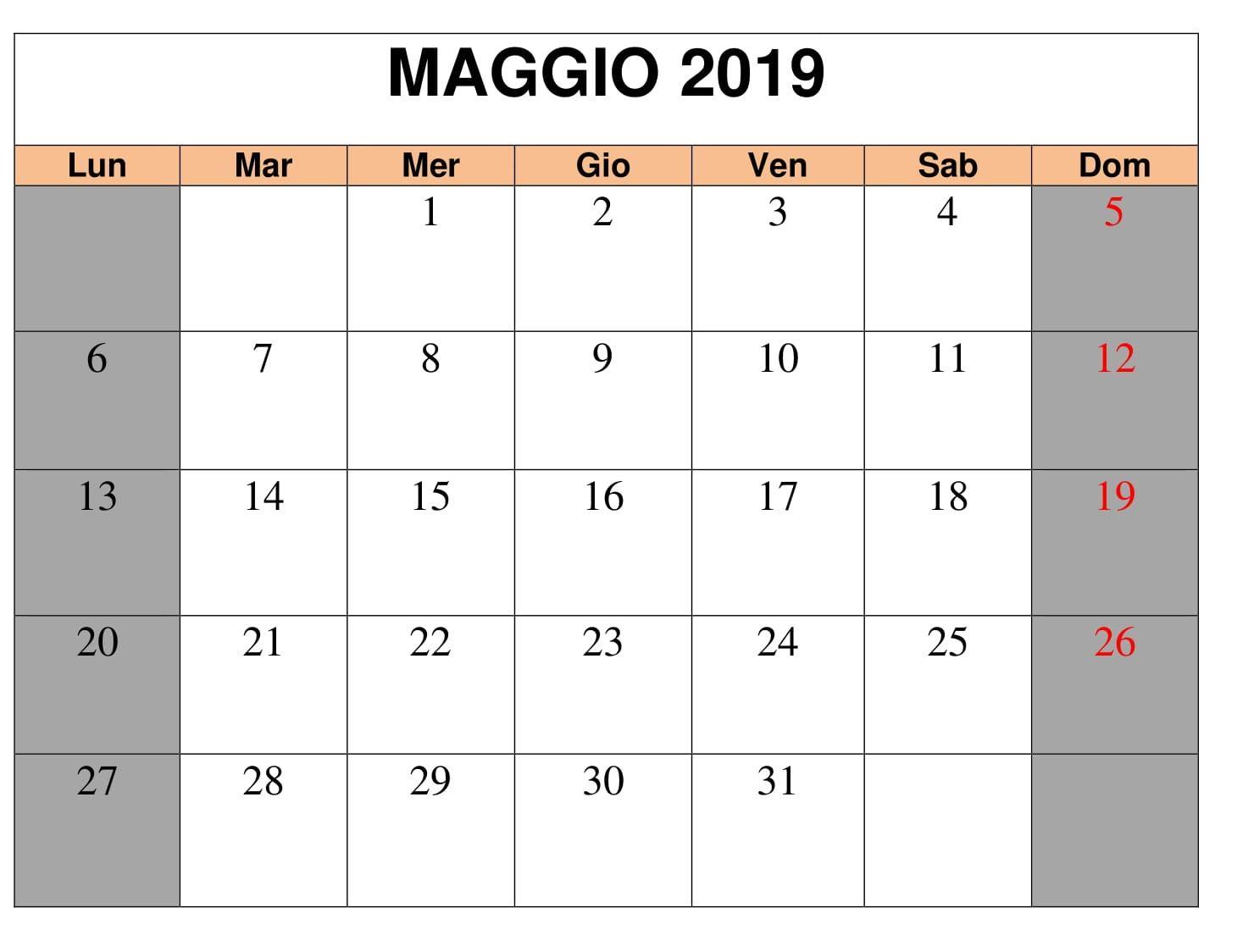 Calendario Con Note.Maggio 2019 Calendario Con Note Calendario Maggio 2019