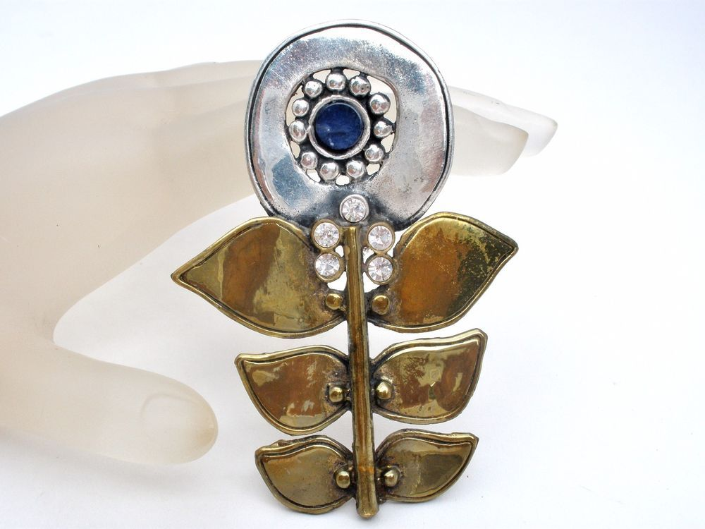 """Large Sterling Silver Flower Brooch Vintage Jewelry Pin with Lapis & Crystals   This is a large artisan made sterling silver & brass flower brooch with a lapis lazuli gemstones and clear crystals.  It is solid sterling silver brass plating and measures 1.63"""" wide by almost 2"""" long.  This brooch is in excellent condition. Jewelry & Watches, Vintage & Antique Jewelry, Fine"""