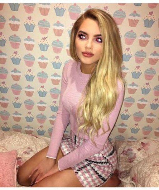 skirt cupcakes blonde hair shirt cute outfit plaid dontskip