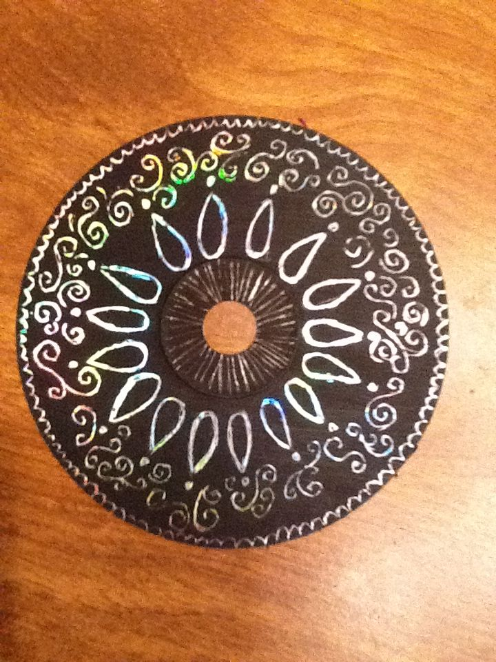 Such A Cool And Easy Craft Project Great For All The Old CDs I Have Laying Around House Just Paint Shiny Side With Dark Color Wait To Let Dry