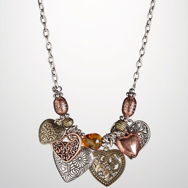 Embellished Heart Cluster Necklace-Plus Size Necklace-Avenue