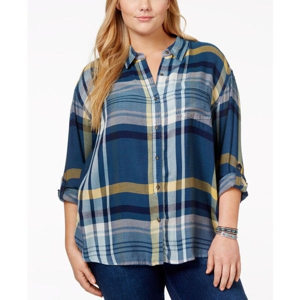 b1206d49120 Lucky Brand Plus Size Plaid Boyfriend Shirt ( 60) ❤ liked on Polyvore  featuring plus