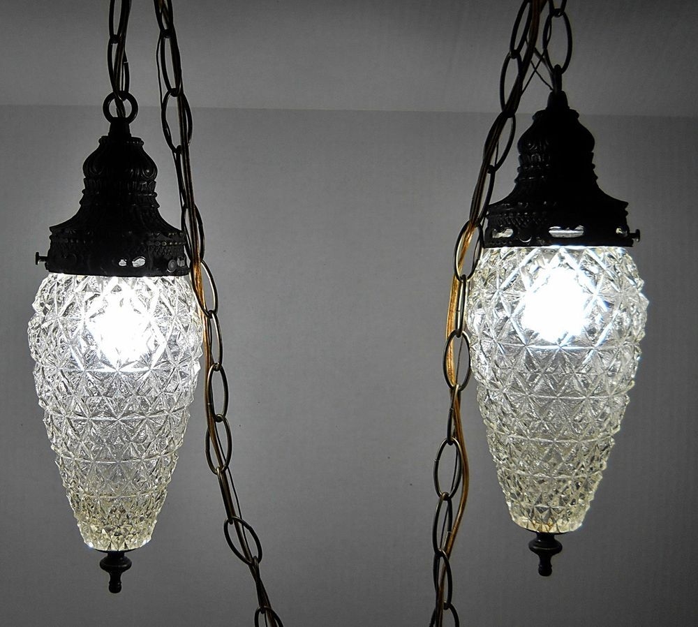 Vintage Pair Hanging Light Fixture Swag Lamp Gl Regency