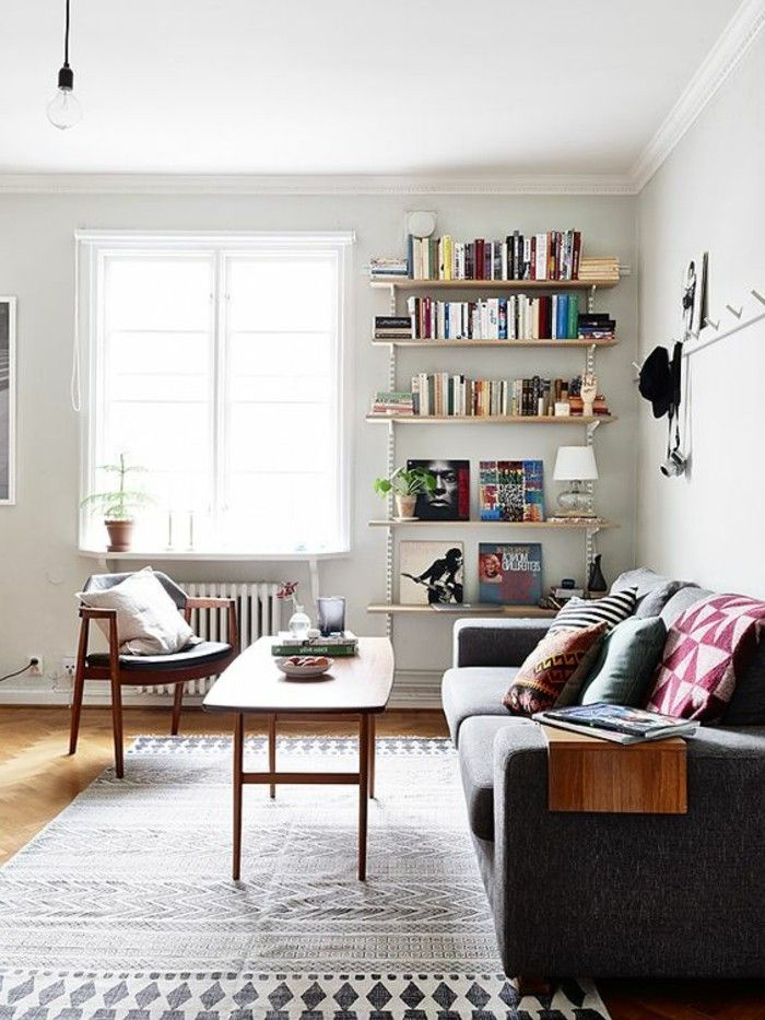 Genial Interior Design Living Room Design Ideas Retro Geometric Carpet White Walls  (700×933)