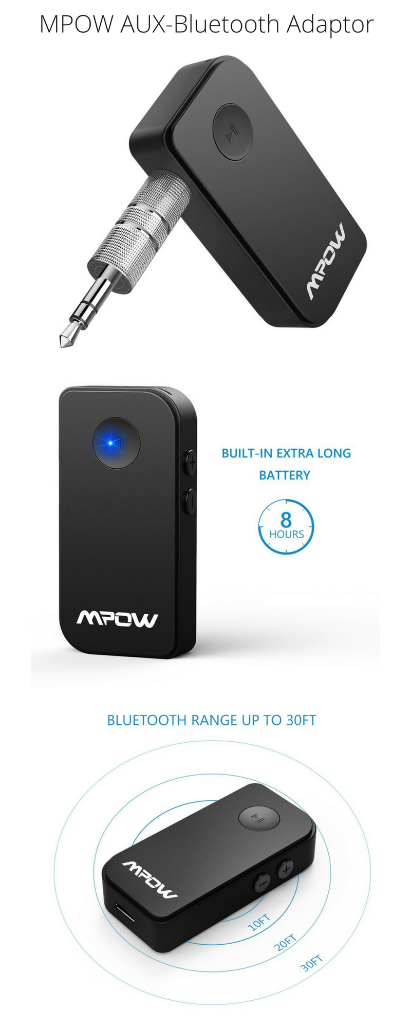 Mpow 3.5mm Wireless Bluetooth Receiver For Aux Stereo Audio Music Car Adapter