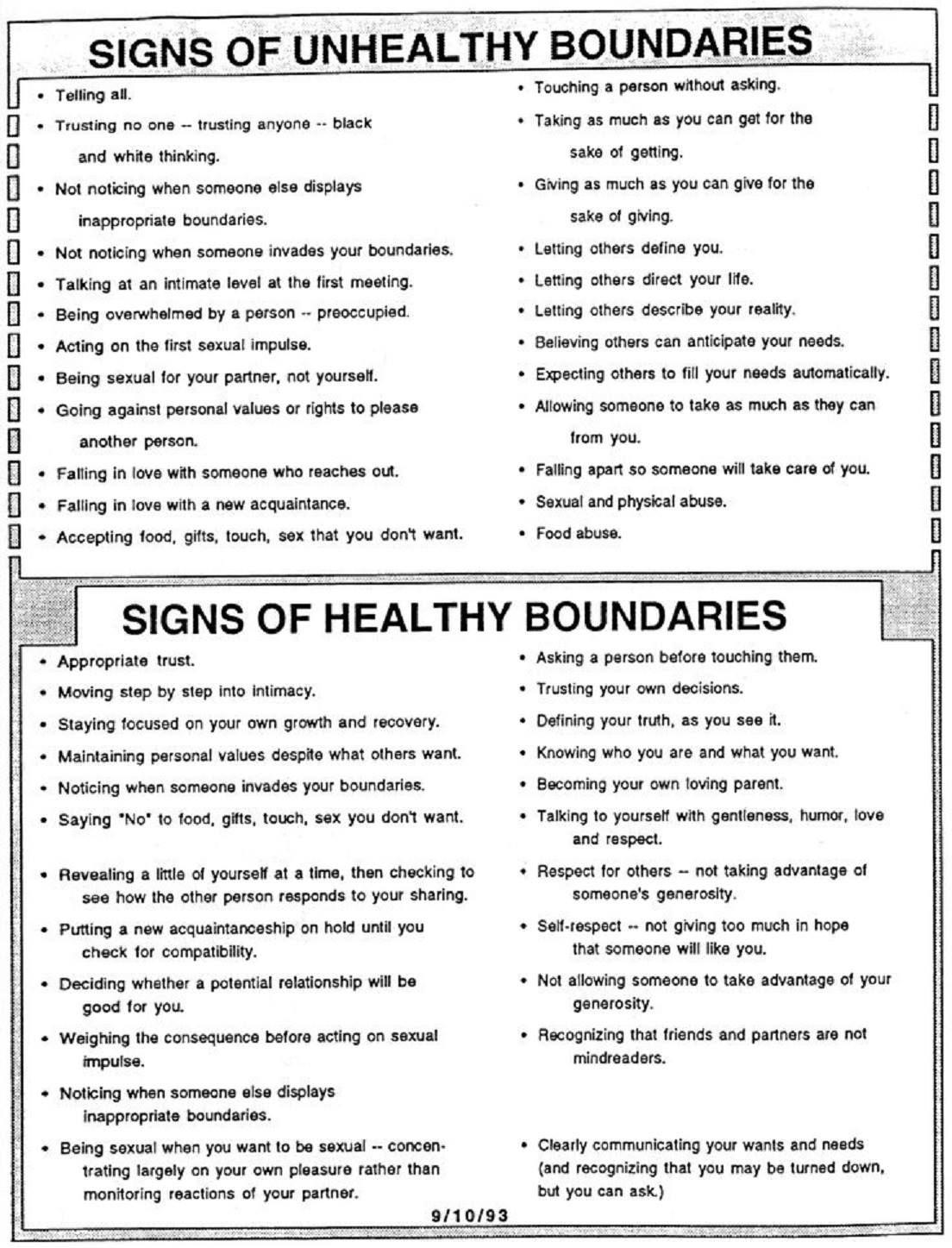 Unhealthy Vs Healthy Boundaries