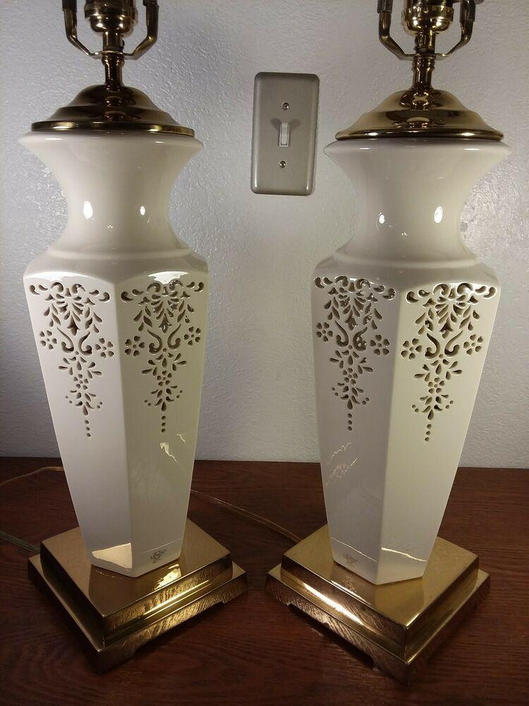 Pair Of Lenox Vintage Original Table Lamps 31 Quoizel Renaissance Cream 6 Sided Lenox Quoizel Lenox Ornate Details