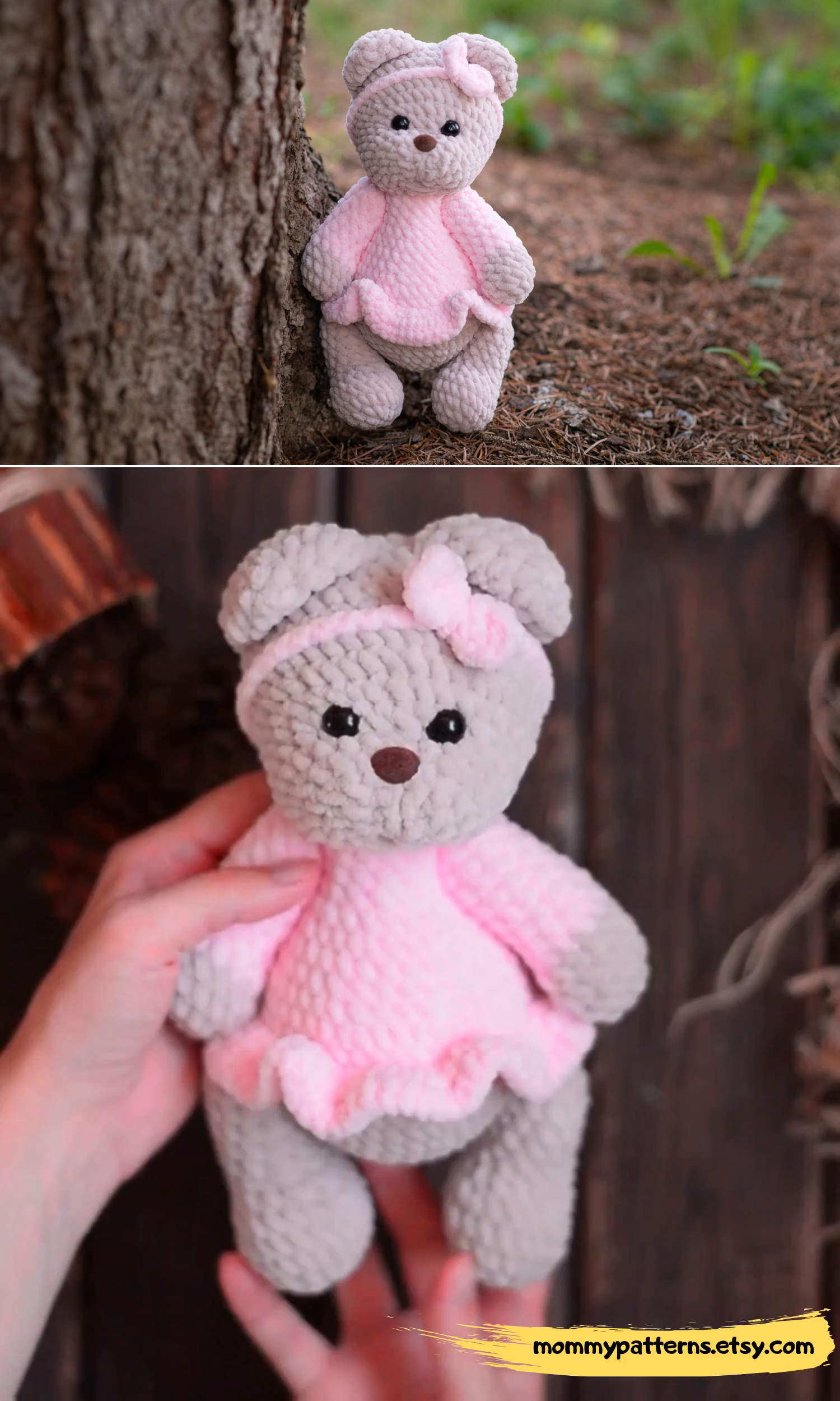 Amigurumi EASY CROCHET PATTERN Teddy bear in dress. This crochet pattern contains a detailed