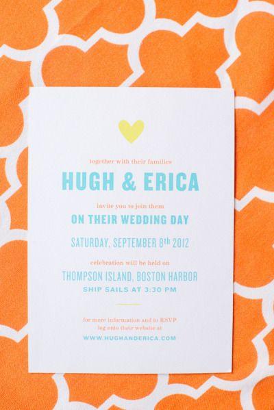 Bright wedding invitations: http://www.stylemepretty.com/2013/07/01/thompson-island-massachusetts-wedding-from-paper-antler-photography/ | Photography: Paper Antler - http://paperantler.com/