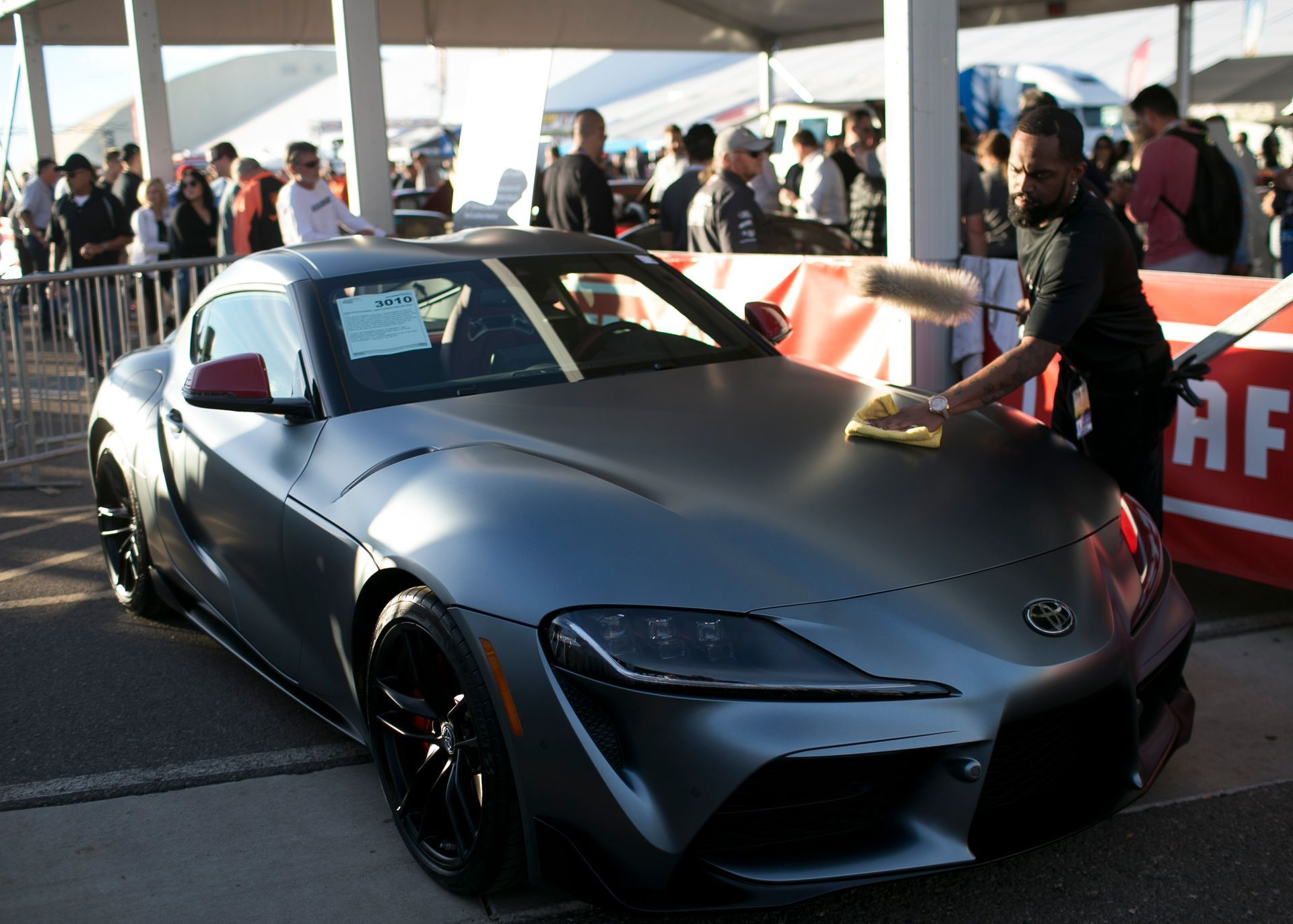 a 2020 toyota supra-first production vin 20201 sits