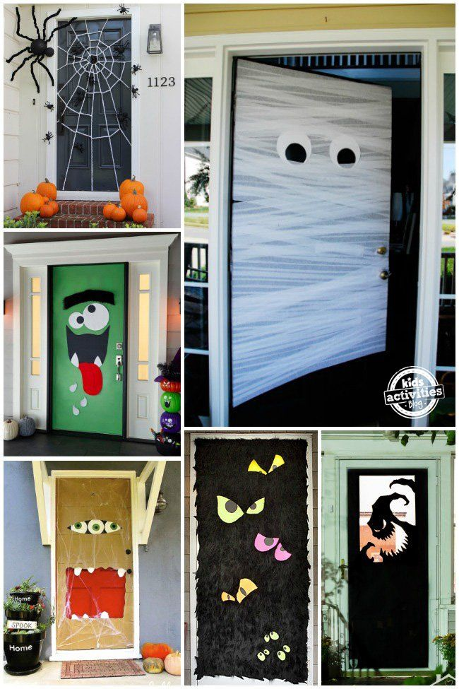 15 fun halloween front doors front doors halloween. Black Bedroom Furniture Sets. Home Design Ideas