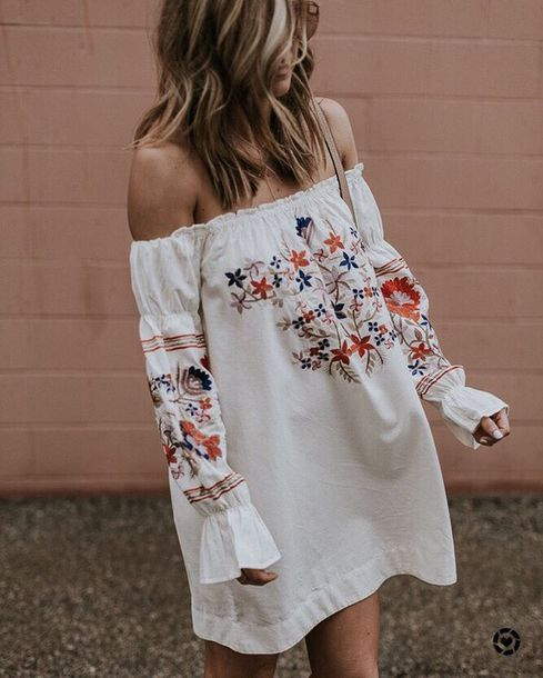 5ef88b816239  70 Off The Shoulder Ruffled Pleated Long Sleeved Red Floral Flower Print  Patterned Embroidered Summer Spring Mini Dress Beach Style Tumblr