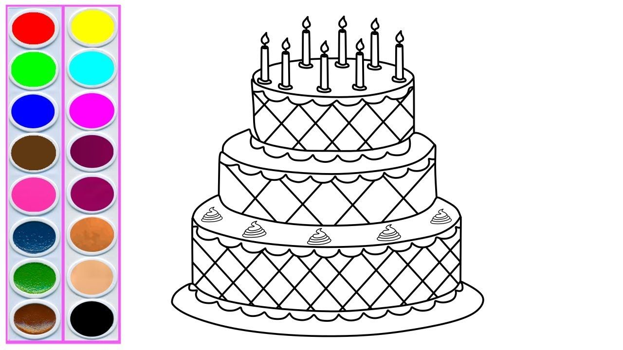 Birthday Cake Drawing Coloring For Kids Coloring Pages For