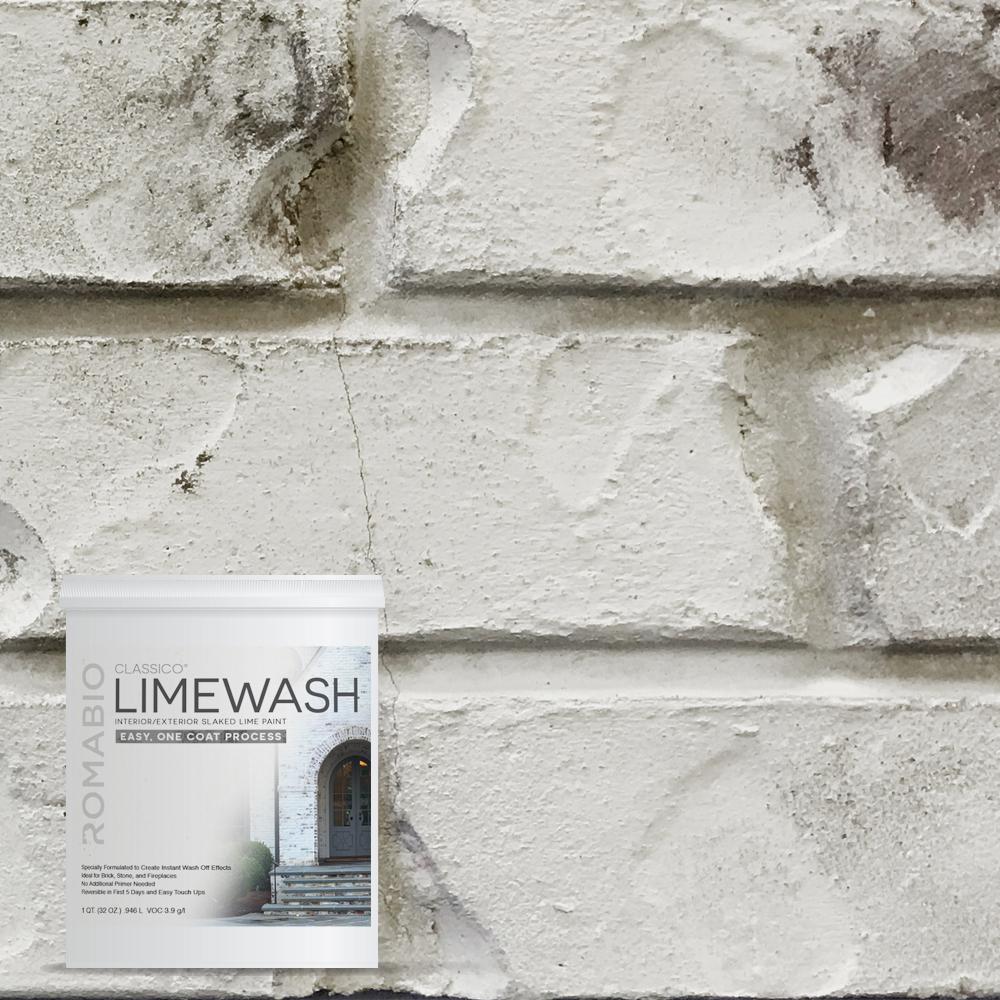 ROMABIO 1 qt. Cristallo White Limewash Interior/Exterior Paint-10113 - The Home Depot