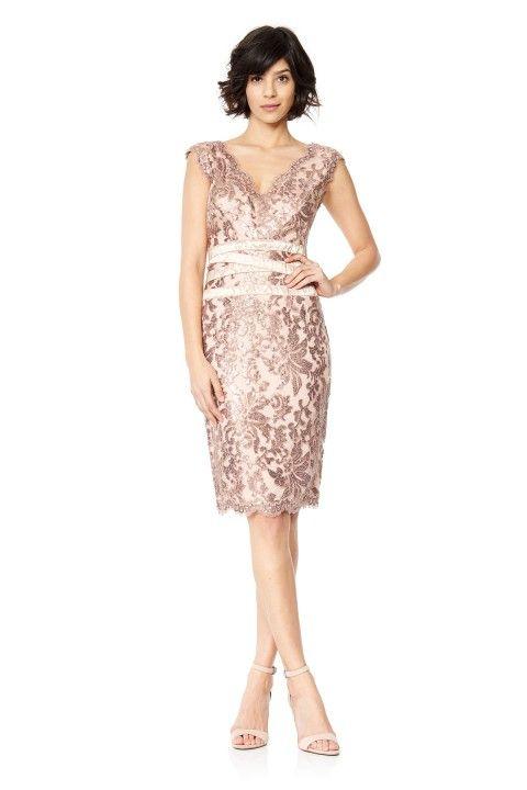 Paillette Embroidered Lace V-Neck Dress
