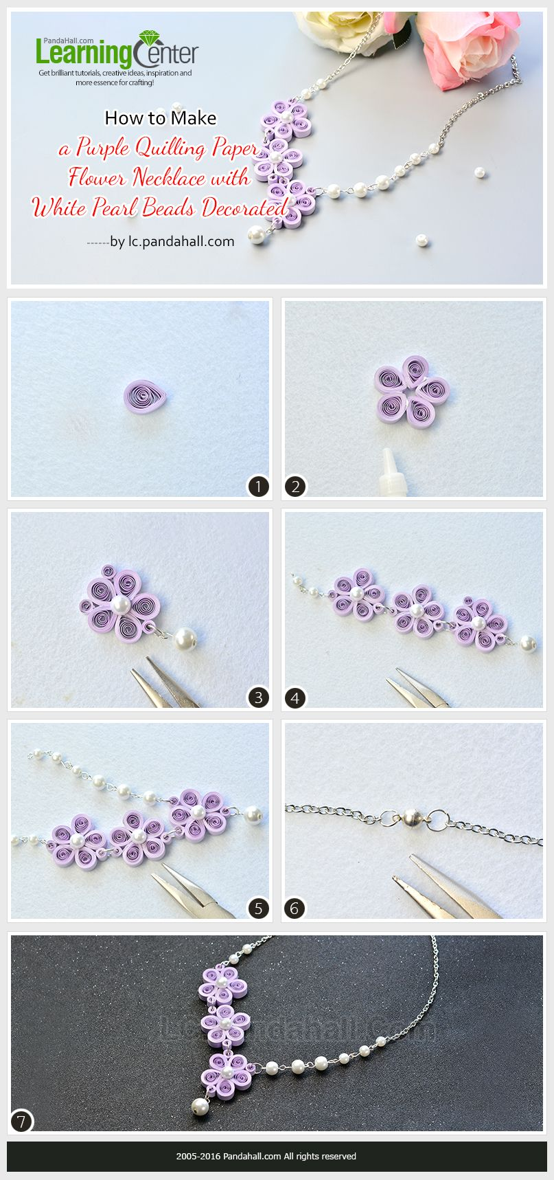 How To Make A Purple Quilling Paper Flower Necklace With White Pearl Beads  Decorated From Lc