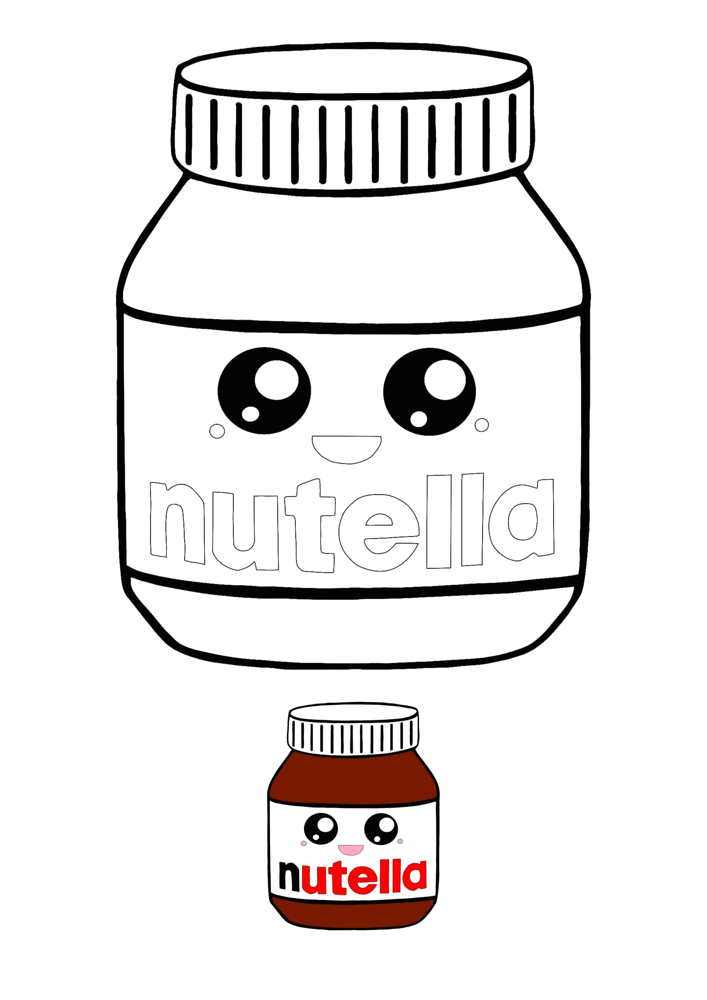 Kawaii Nutella Coloring Page With Sample Coloring Pages Kawaii Kawaii Faces
