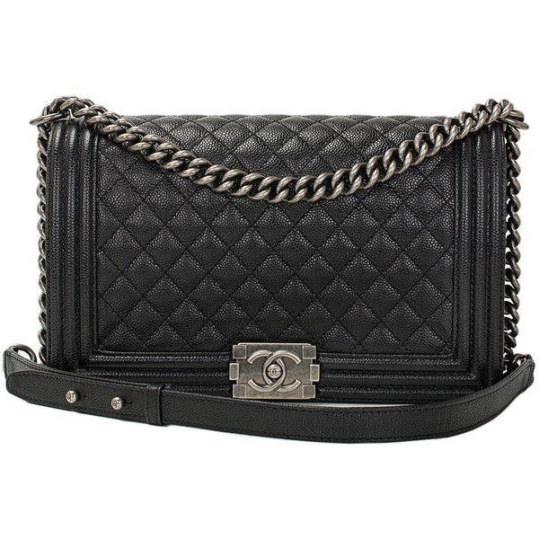 Chanel Black Caviar New Medium Boy Bag (21.525 BRL) ❤ liked on Polyvore  featuring bags 3c7b7f537c71e