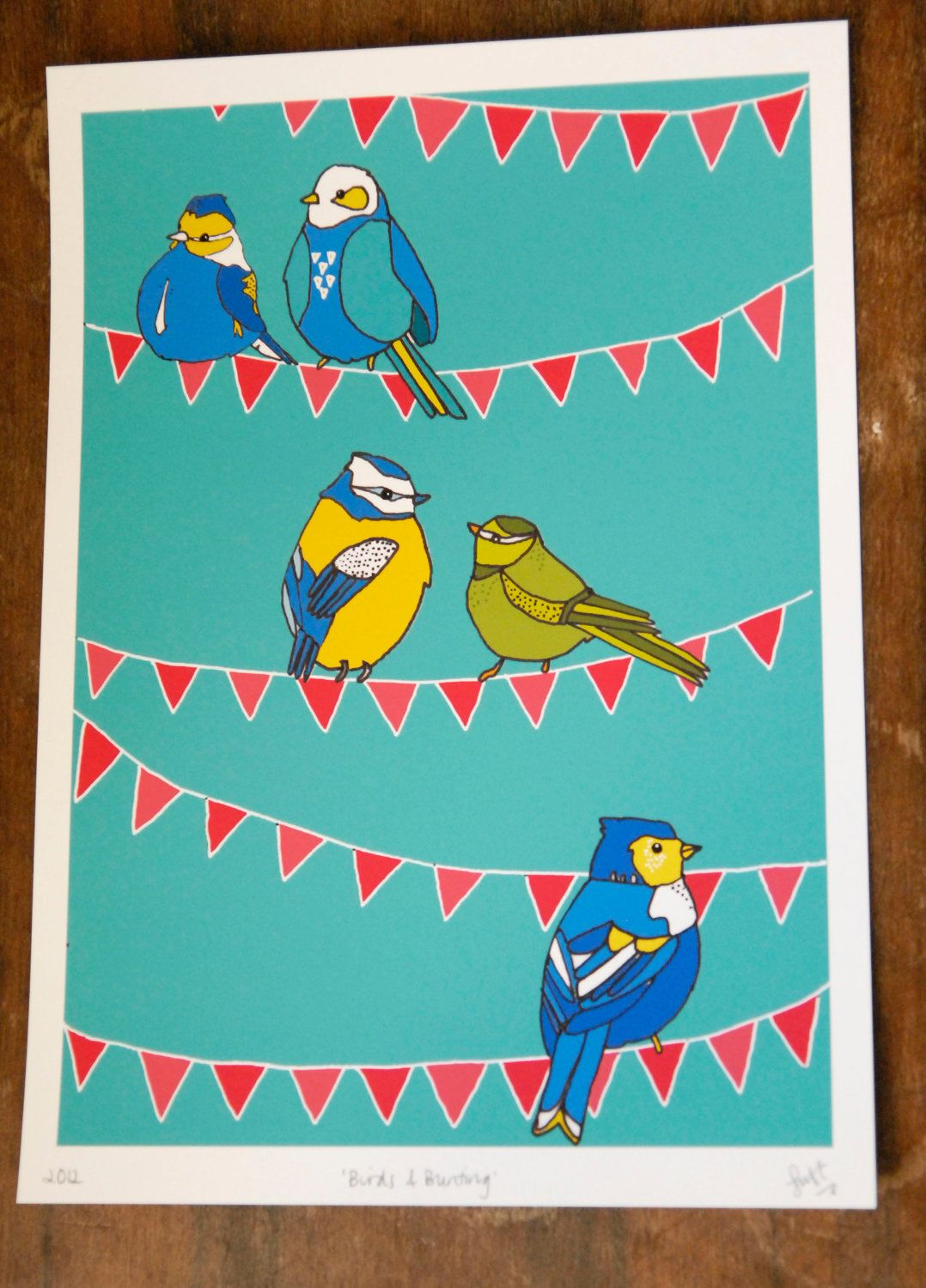 Birds and Bunting Giclee Print by StacieSwift on Etsy. £25.00, via Etsy.