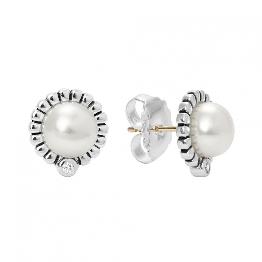gold akoya stud blue hanadama pearl product japanese earrings