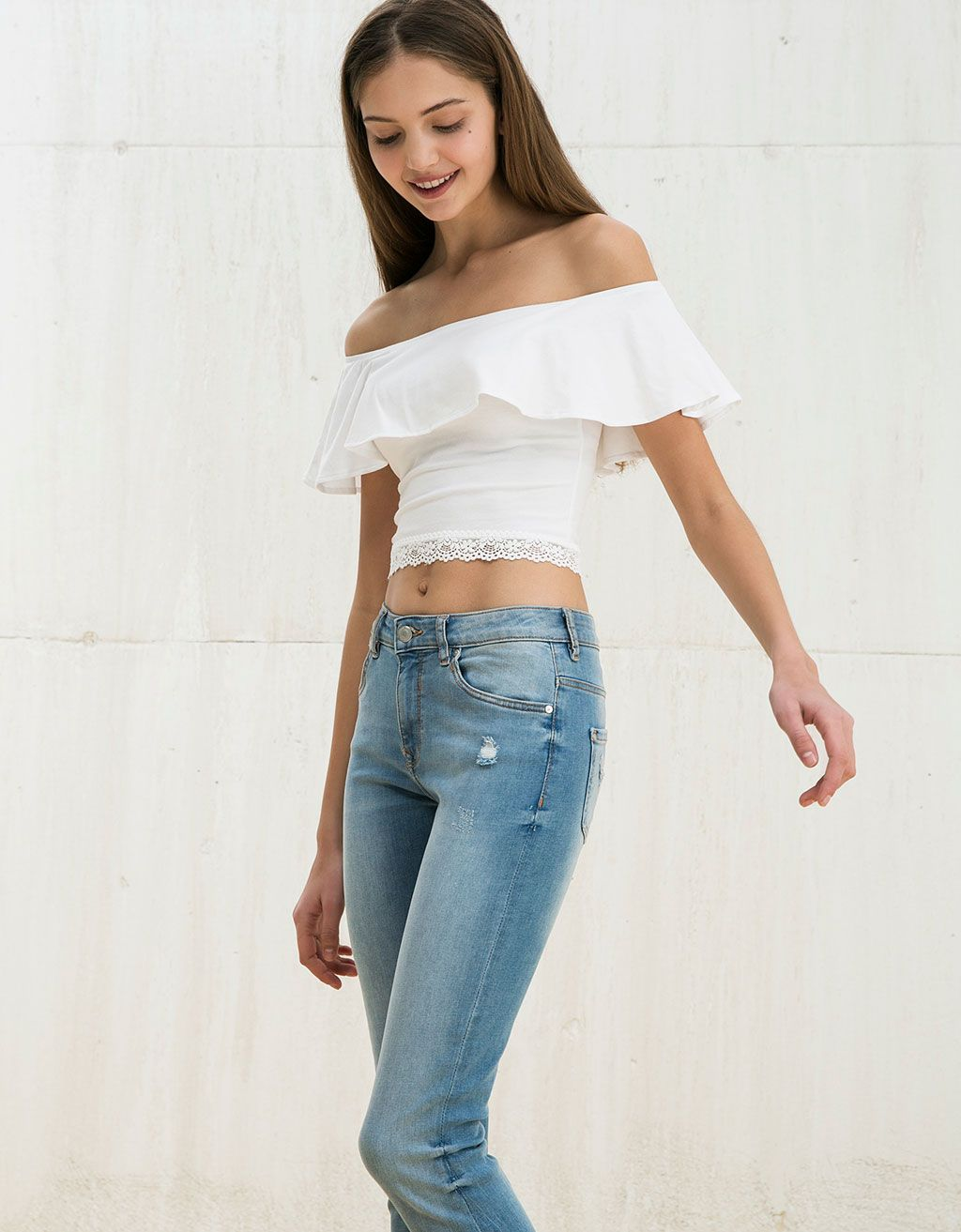 ce52bea15aac BSK Veracruz lace and ruffle top. Discover this and many more items in  Bershka with new products every week