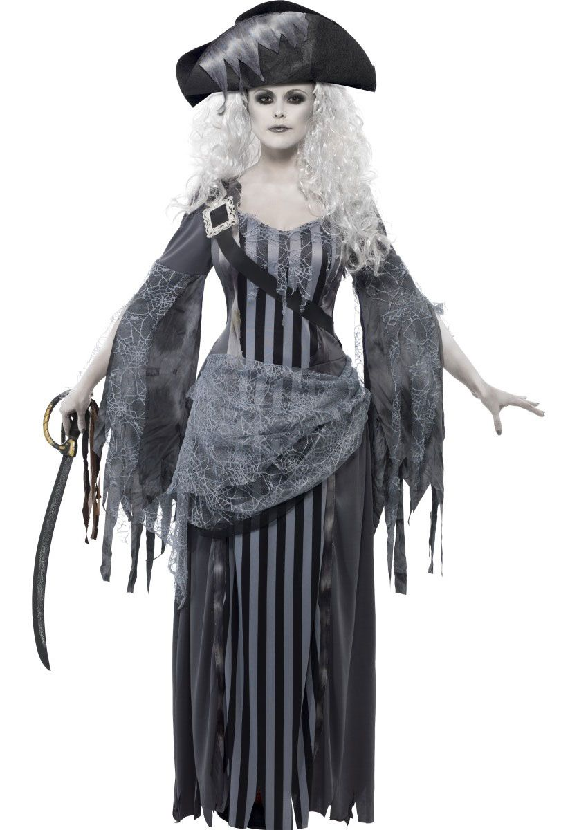 our adult ghost ship princess costume includes floor length black and grey dress with vertical stripes and ripped sleeves and matching pirate - Pirate Halloween Costume For Women