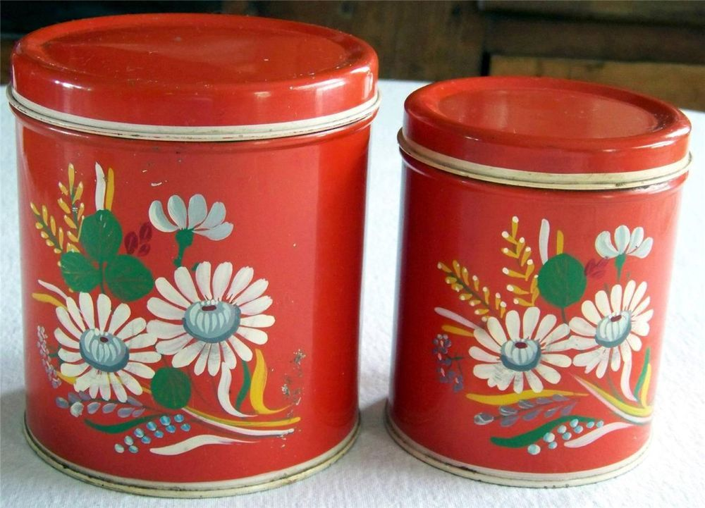 Vintage Ransburg Asters Hand Painted Metal Red Canister Set Of 2 Floral  Kitchen