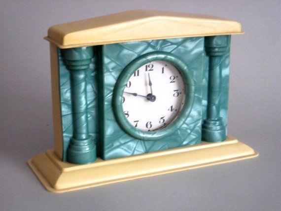 c8cdaabbbd754 Mantle Clock Celluloid Clock E. Ingraham Co. Art by LoveItBuyIt ...