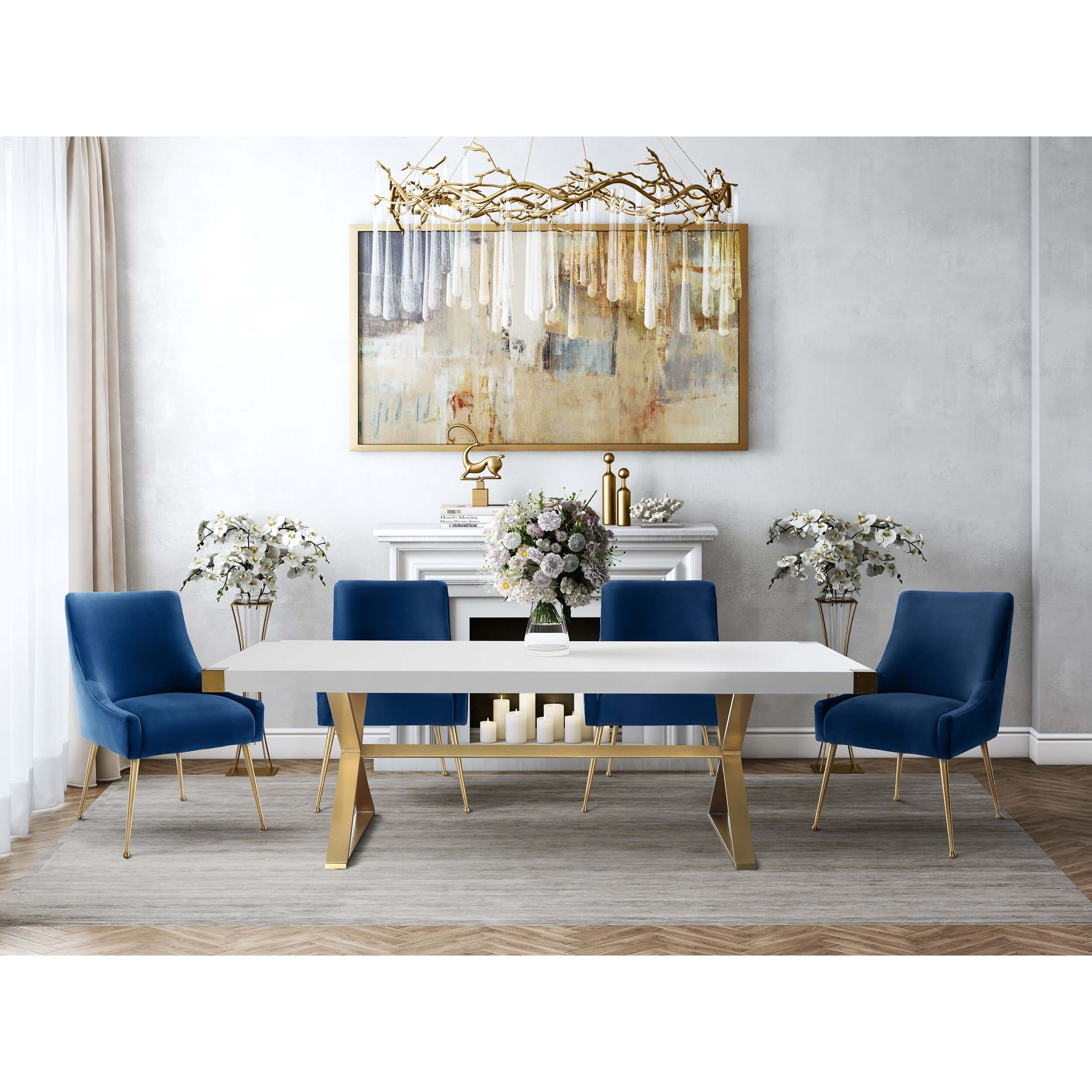 Beatrix Side Chair Navy Brushed Gold Base Gold Dining Room Rectangular Dining Table Velvet Dining Chairs