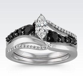 Swirl Round Black Sapphire And Diamond Wedding Set With Rhodium Marquise