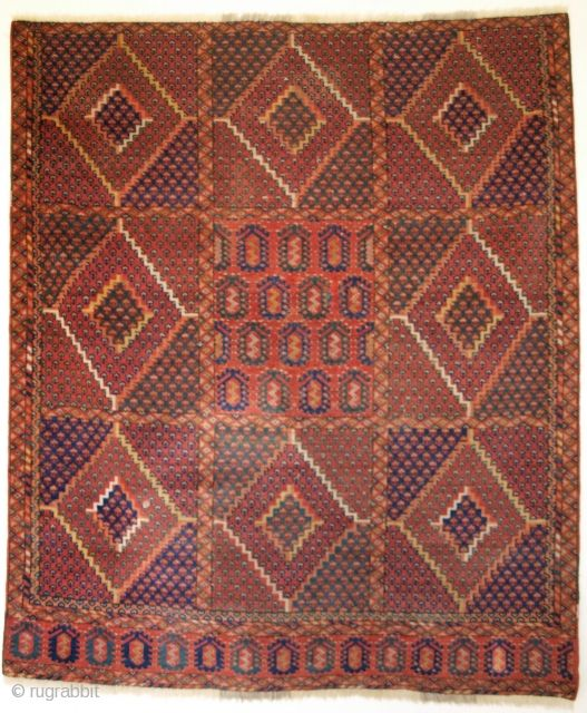 Small Beshir Turkmen Rug Losses To Sides And Ends Superb Colours Size 127 X 118cm Www Knightsantiques Co Uk
