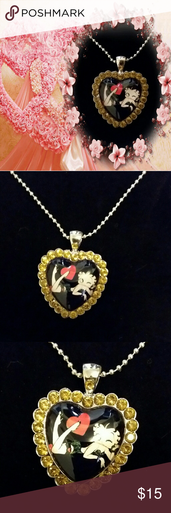 Betty boop gold crystal glass heart necklace Boutique Betty boop