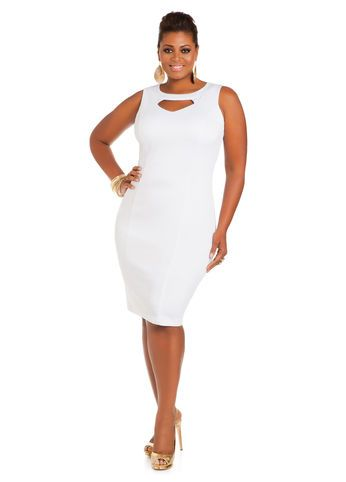 Ashley Stewart Web Exclusive Keyhole Princess Seam Sheath Plus
