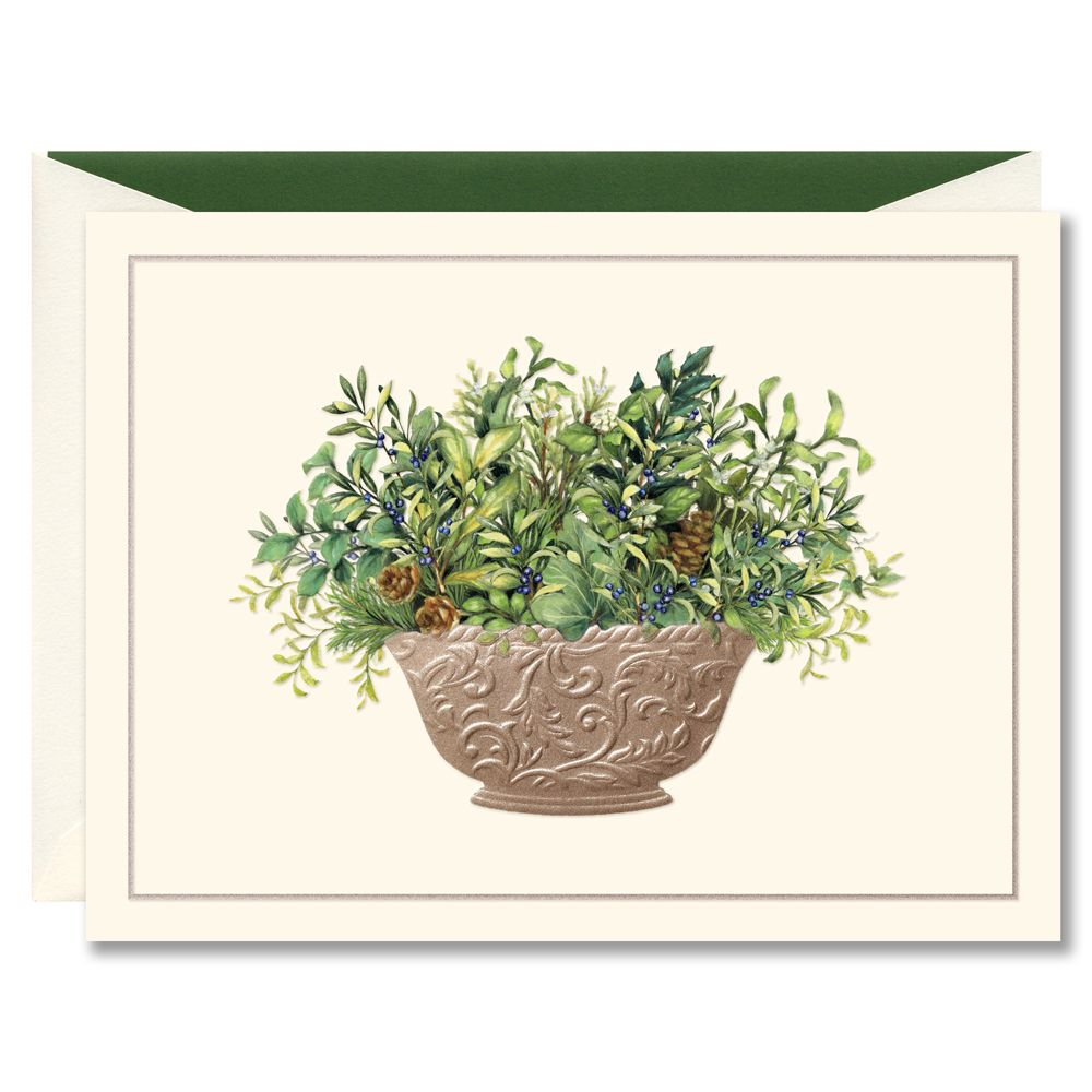 Festive greens in pewter bowl boxed holiday greeting cards holiday festive greens in pewter bowl boxed holiday greeting cards kristyandbryce Choice Image