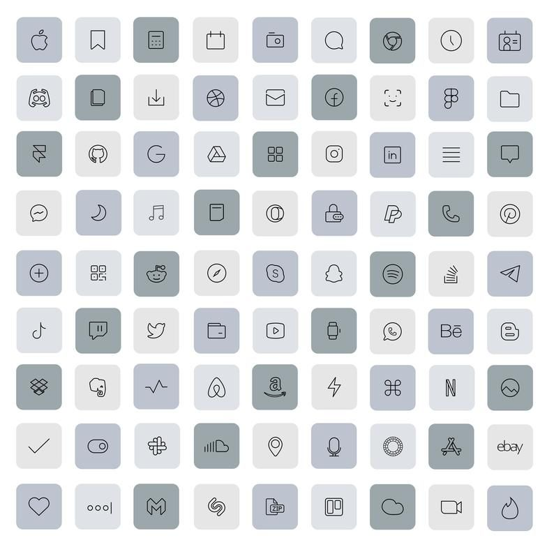 250 Basic Set iOS 14 App Icons Black White Grey Da