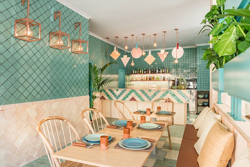 the region of andalusia was the main theme that drove the interior design of the albabel restaurant by masquespacio in a small town outside valencia.