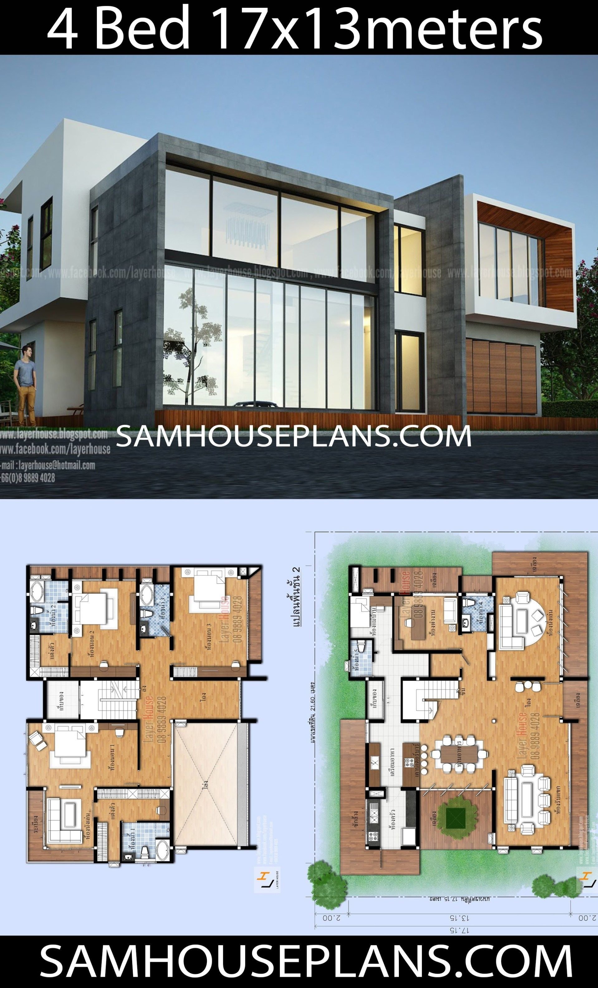 House Plans Idea 17x13m With 4 Bedrooms Sam House Plans House Plans Dream House Plans Architecture House