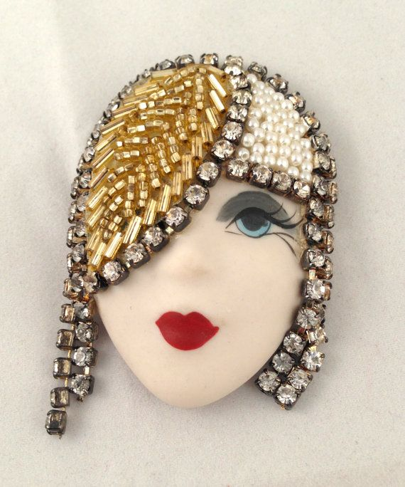 vintage large porcelain faces elvira jackie brooch pin