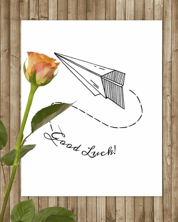 Printable Paper Plane Write, Good Luck Digital Illustration -Exams - good luck cards to print