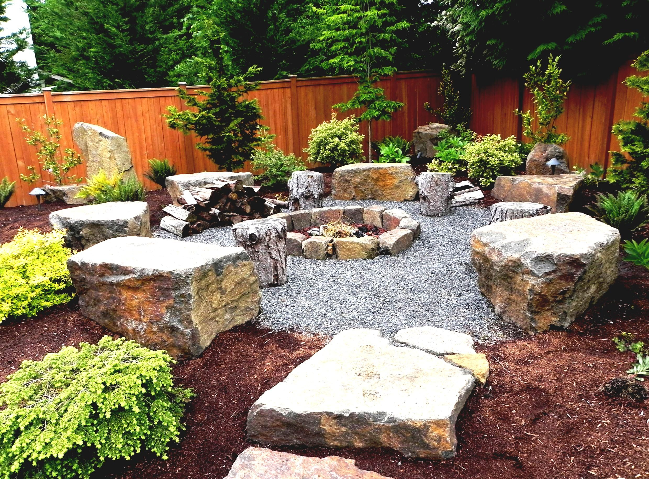 Rustic Stone Seating Blocks Fire Pit Landscaping Backyard Landscaping Designs Backyard Fire