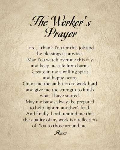 The Worker's Prayer | Jesus Christ | Prayer for workplace, Prayer