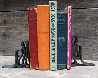 Hand Forged Wrought Iron Bookends from Antique Plow Tines, Metal Bookend, Industrial Decor