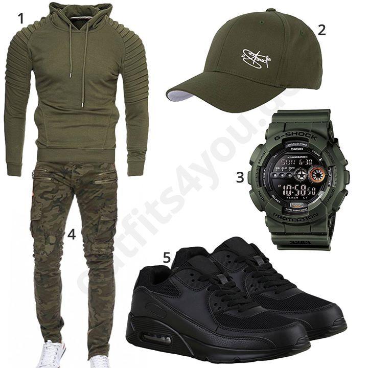 c9c49562311 Olivgrünes Herren-Outfit mit Army Sweatpants (m0571