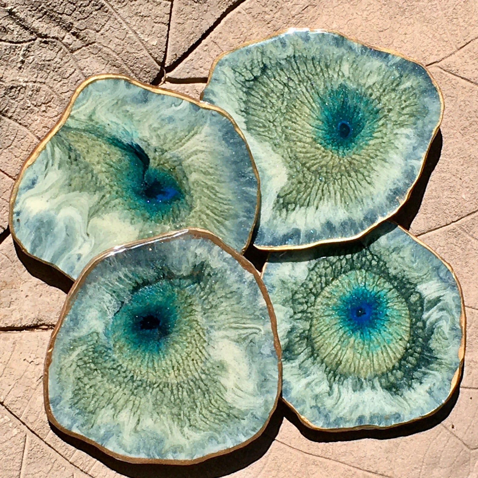 Green /& Gold Geode Resin Wood and Marble Coasters  Set of 4