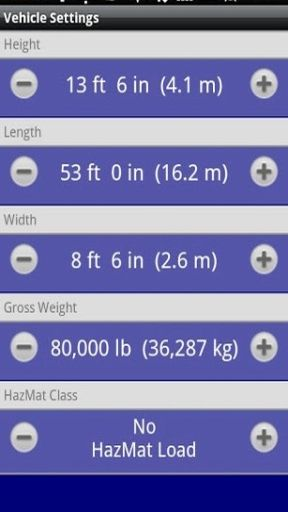Set truck dimensions including height, weight, and more