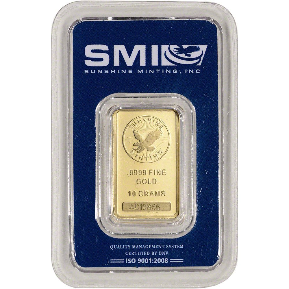 10 Gram Smi Gold Bar Sunshine Mint 9999 Fine In Sealed Assay Gold Bar Gold Bullion Bars Gold Bars For Sale